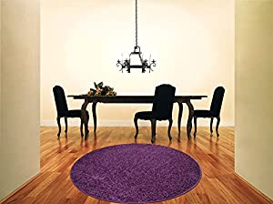 Shaggy Rug Purple Aubergine 963 Plain 5cm Thick Soft Pile 120cm (4ft) Round Circle Modern 100% Berclon Twist Fibre Non-Shed Polyproylene Heat Set - AVAILABLE IN 6 SIZES by Quality Linen and Towels from Quality Linen and Towels