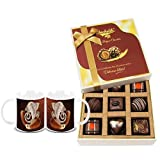 Chocholik Belgium Chocolates - 9pc Special Love Combo Wishes With Diwali Special Coffee Mugs - Diwali Gifts