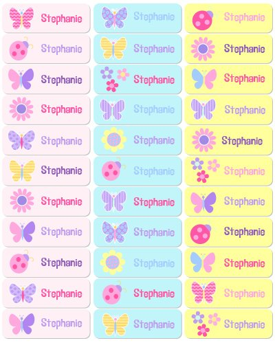 Butterfly Garden Personalized Rectangle Waterproof Labels front-879147