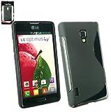 Emartbuy® LG Optimus L7 II P710 Wave Pattern Gel Skin Cover Black