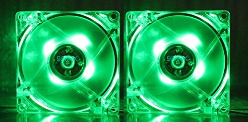 RiteCool (2 Pack) Green LED Case Fan 120mm 12v DC Computer Desktop Fan (Pic Of Ps3 compare prices)