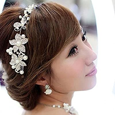 New Lovely Metallic Sweet Lady Hollow Rose Flower Elastic Hair Band Fashion Headband - Gold (Gloden Flower)