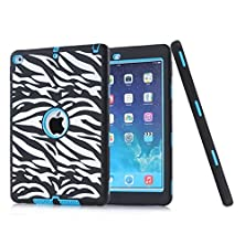 buy Ipad Air 2 Case - Defender Series Ipad Air 2 Armor Case Hybrid Pc / Tpu Tough Hybrid Three Layer Full Body Protective Case Cover For Ipad Air 2 (2014) 6Th Generation - Classic Zebra Pattern-Blue