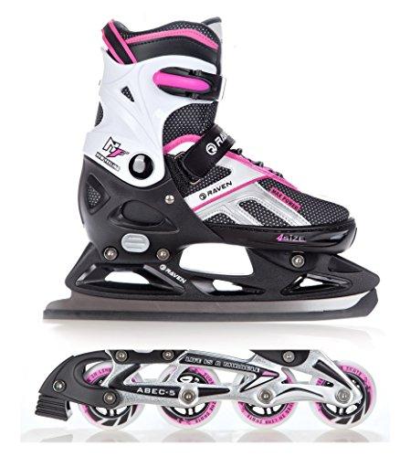 2in1-Schlittschuhe-Inline-Skates-Inliner-Raven-Pulse-BlackPink-verstellbar