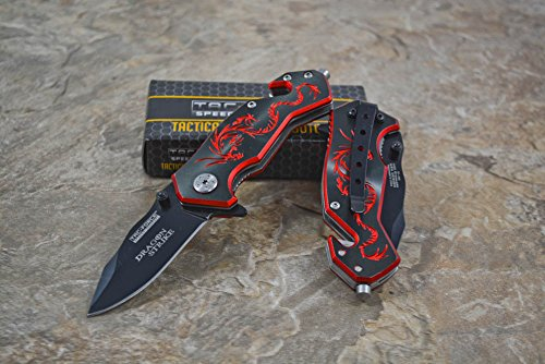 """Tac-Force Assisted Opening Camping Hunting Outdoor Black/Red Aluminum Handle Dragon Graphics Design A/O 3.5"""" Closed Small Pocket Knife"""