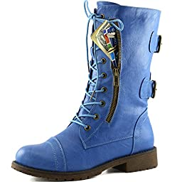 Women\'s Military Lace Up Buckle Combat Boots Mid Knee High Exclusive Credit Card Pocket, 10