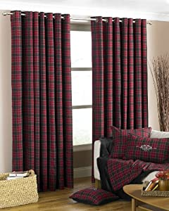 Stunning Wool Scottish Irish Tartan Red 66 X 90 Ring Top Fully Lined Curtains by PCJ SUPPLIES