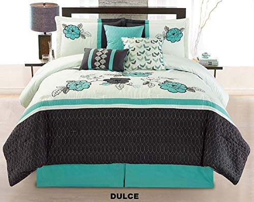 Unique Home 7 Pieces Bedding Comforter Set Floral Medallion Printed on red and Black Stripes with Pillow Sham Cushion Bed Skirt King