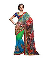 Anvi Creations Digital Printed Embroidered Georgette Green Multi Blue Saree (Green_Free Size)