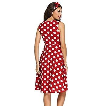 Roswear Women's Vintage 1950s Polka Dot A Line Belted Skater Dress