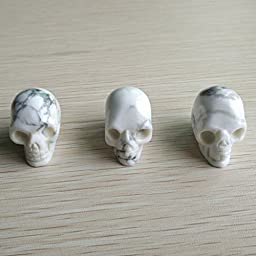 Fashion Natural White Turquoise Carved Skull Charms Pendants 3Pcs/Lot