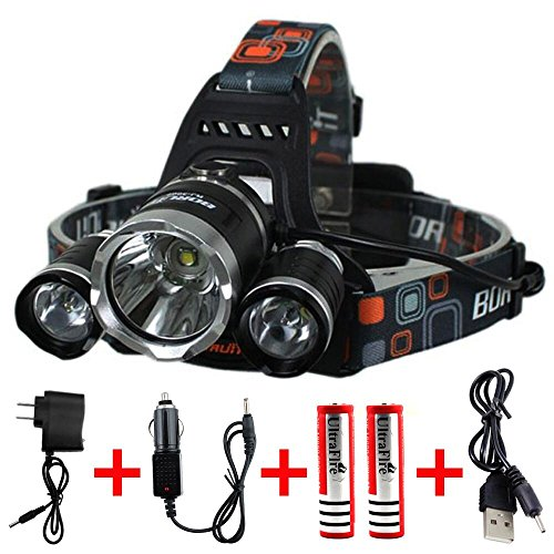 Keku LED High Power Headlamp Rechargeable Waterproof Head Flashlight Lamp