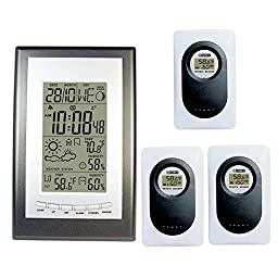 Wireless Weather Station Silver Gray Alarm Clock Indoor Outdoor Thermometer Hygrometer (3 Sensors)