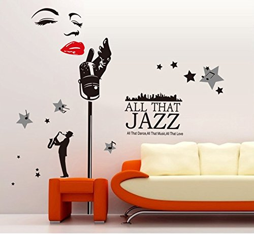 Dfunlife The Microphone Sir Dance Music Classroom Wall Stickers Bedroom Sitting Room Removable Design Wall Decals