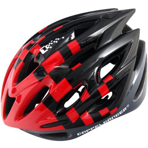 DOPPELGANGER(ドッペルギャンガー) ヘルメット DH005 インモールド 自転車用 ブラック/レッド M-XL 58~62cm 軽量252g [サイズアジャスター付き]