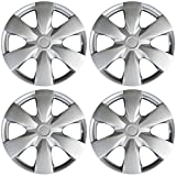 Hubcaps for Toyota Yaris (Pack of 4) Wheel Covers - 15 Inch, 6 Spoke, Snap On, Silver