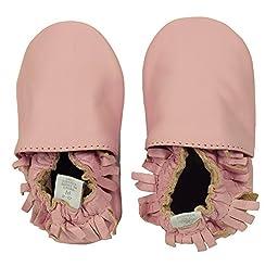 Ministar Girls Baby Infant Toddler Prewalker Leather Soft Sole - Pink Mocassin - Large 12-18 mo.