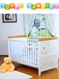Tutti Bambini 3 Bears Dropside Cot Bed in White/Beech & Foam Safety Mattress