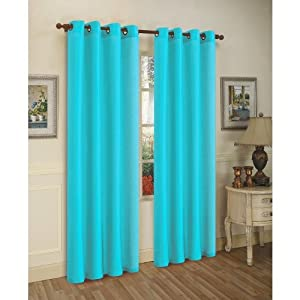 2 piece solid aqua blue faux silk grommet curtain panel