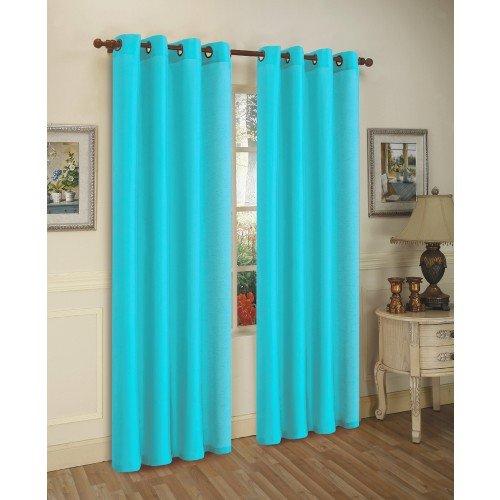 Aqua Curtain Chic Supple Microfiber Tailored Pair with Ties 72-Inch