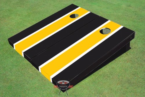 Yellow and Black Matching Long Stripe Corn Hole Boards (Steeler Corn Hole Bags compare prices)