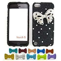 "Apple iPod Touch 5 (5th Generation) ""Silver Ribbon"" Hard Case + 1 Rhinestone Bowtie Dust Plug [Cellular Connection Packaging]"