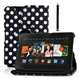 """Generic PU Leather Luxury Stylish Slim-Fit Ultra Lightweight 360 Degrees Rotating Swivel Stand Polka Dot Pattern Design Series Smart Cover Case Skin Multi-Angle Viewing for Amazon Kindle Fire HD 7"""" Tablet (Only for 2012 Old Model) with Free Gifts - Black"""