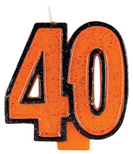Creative Converting Numeral with Glitter Birthday Cake Candle, 40, Orange - 1