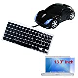"Black Soft Keyboard Silicone Cover + Clear Screen Protector + Black USB Car Mouse for Apple Macbook 13.3"" Laptop"