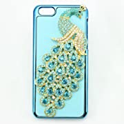 bling 3D clear peacock hard back Case cover for Iphone 5C