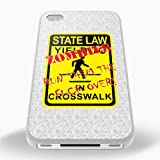 White Cover For iPhone 4 / 4S Zombies Run Them Over Funny Phone Case