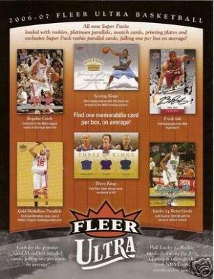 2006 07 Upper Deck Fleer Ultra Basketball Cards Unopened Hobby Pack 8 cards per pack 1 gold medallion insert per pack plus randomly inserted Autographs Jersey Cards and Rookie Cards of Adam Morrison JJ Reddick and other future stars