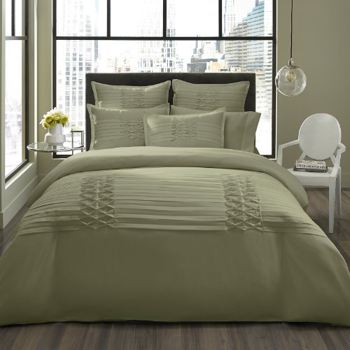 City Scene Triple Diamond Duvet Cover Set, Twin, Sage front-1073354