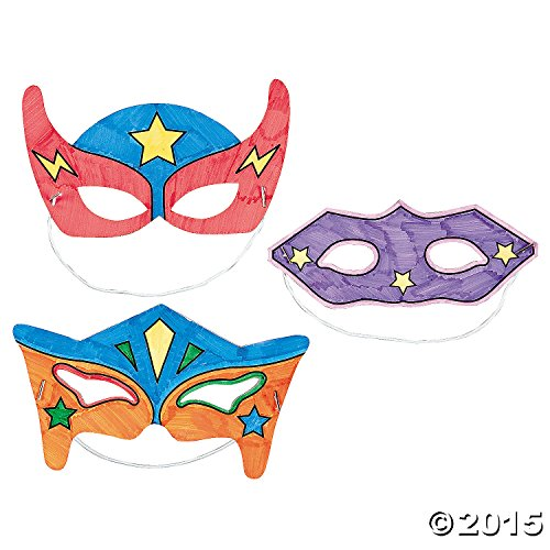 Color-Your-Own Superhero Masks (12 Pack) (Paper Mask Party compare prices)