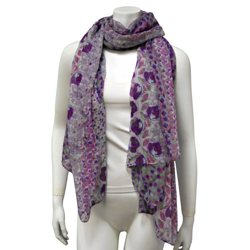 Purple Multi Color Spring Flower Patterned Scarf Pareo Shawl Wrap