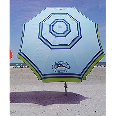 Seek comfortable shelter from the blazing sun under this 7' Tommy Bahama beach umbrella! This umbrella has clever features and extra-sturdy construction that won't bow or bend. Use the fold-down handles to screw the base securely into the sand, clip ...