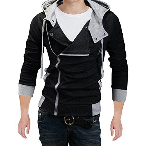 Pishon Men's Oblique Zipper Hoodie Casual Top Coat Plain Slim Fit Hooded Jackets, Black, Large