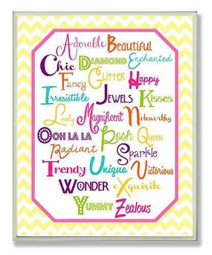 The Kids Room by Stupell ABC Typography on Yellow Chevron Rectangle Wall Plaque