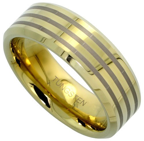Revoni Tungsten Carbide 8 mm Flat Wedding Band Ring for Him  &  Her Etched Stripe Pattern Gold Tone Beveled Edges, size J