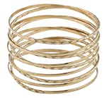 Gold Intertwined Spring Style Bangle Bracelet