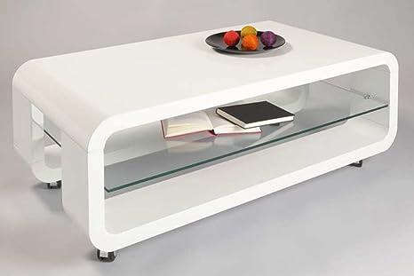 Table basse ROMANE Blanc haute brillance, 1100 x 600 x 400 mm -PEGANE-