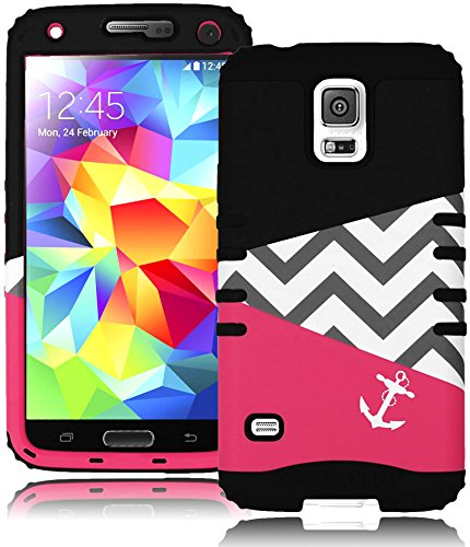 Bastex Heavy Duty Hybrid Case For Samsung Galaxy S5 I9600 - Black Silicone Cover With Hot Pink & Black Chevron Anchor Design Hard Shell front-465730
