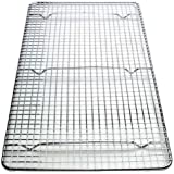 NEW, Cross-Wire Grid Cooling Rack, Wire Pan Grate, Baking Rack, Icing Rack, Chrome Plated Steel, Rectangle shape, 6-Raised Feet, Commercial Quality, Full Size - 10 x 18 Inches