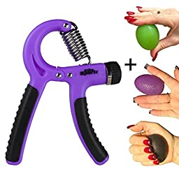 Adjustable Hand Gripper and 3 Hand Grip Balls - Resistance Range of 22lbs to 88lbs - Purple