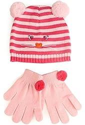 Winter 2pc Girls Kids Age 4-7 Animal Knit Beanie Hat Cap Gloves Set Mouse Pink