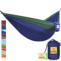 FLASH SALE The Ultimate Single Double Camping Hammocks- The Best Quality Camp Gear For Backpacking Camping Survival Travel- Portable Lightweight Parachute Nylon Ropes and Carabiners Included DO Navy Blue & Forrest Green DoubleOwl