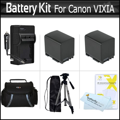 2 Pack Battery Kit For Canon VIXIA HF M300 HF M30 HF M31 M32 M40 M41 HF S200 H S20 HF S21 S30 S40 S400 HF200 HG20 HG21 Camcorder Includes 2 Replacement BP-819 2100MAH Batterries + AC/DC Travel Charger + Deluxe Case + Tripod + Screen Protectors + More