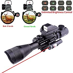 Ar15 Tactical Rifle Scope 4-12x50EG Dual Ill & Red Laser & 4 Tactical
