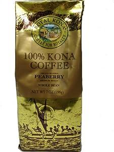 Royal Kona Award Winning 100% Kona Peaberry Coffee, Medium Roast, Whole Bean, 7 oz.