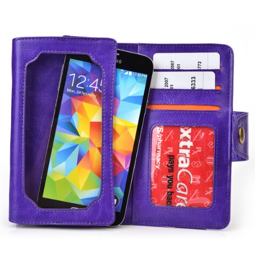 Purple Bifold Smartphone Wallet Fits Yezz Andy A5